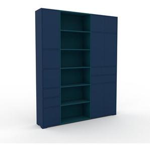 Aktenschrank Nachtblau - Büroschrank: Schubladen in Nachtblau & Türen in Nachtblau - Hochwertige Materialien - 190 x 235 x 35 cm, Modular