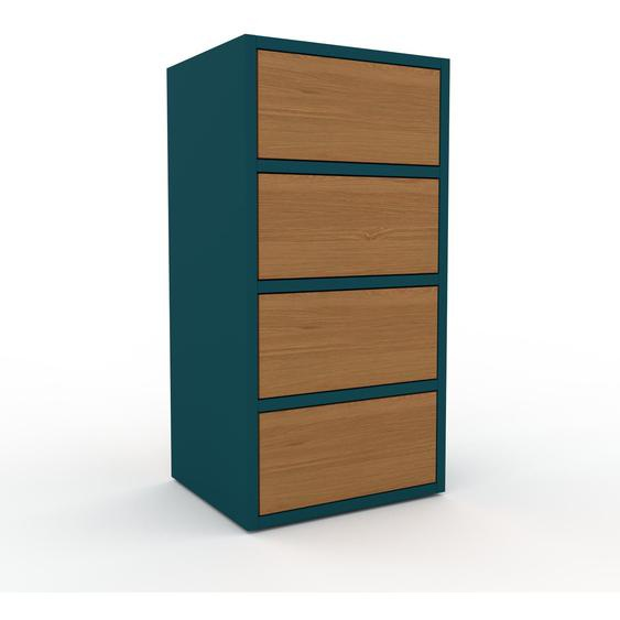 Aktenschrank Blau - Flexibler Büroschrank: Schubladen in Eiche - Hochwertige Materialien - 41 x 80 x 35 cm, Modular