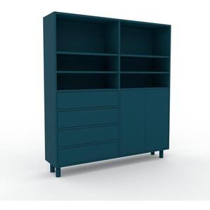 Aktenschrank Blau - Büroschrank: Schubladen in Blau & Türen in Blau - Hochwertige Materialien - 152 x 168 x 35 cm, Modular