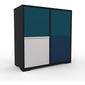 Aktenschrank Schwarz - Flexibler Büroschrank: Türen in Marineblau - Hochwertige Materialien - 79 x 81 x 35 cm, Modular