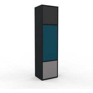 Aktenschrank Schwarz - Flexibler Büroschrank: Türen in Grau - Hochwertige Materialien - 41 x 157 x 35 cm, Modular