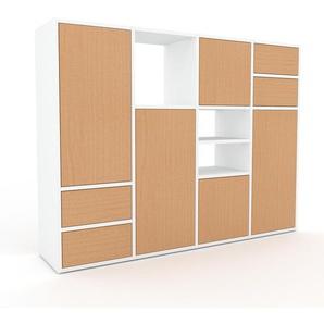 Aktenschrank Buche - Büroschrank: Schubladen in Buche & Türen in Buche - Hochwertige Materialien - 156 x 118 x 35 cm, Modular
