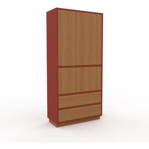 Aktenschrank Rot - Büroschrank: Schubladen in Eiche & Türen in Eiche - Hochwertige Materialien - 77 x 162 x 35 cm, Modular