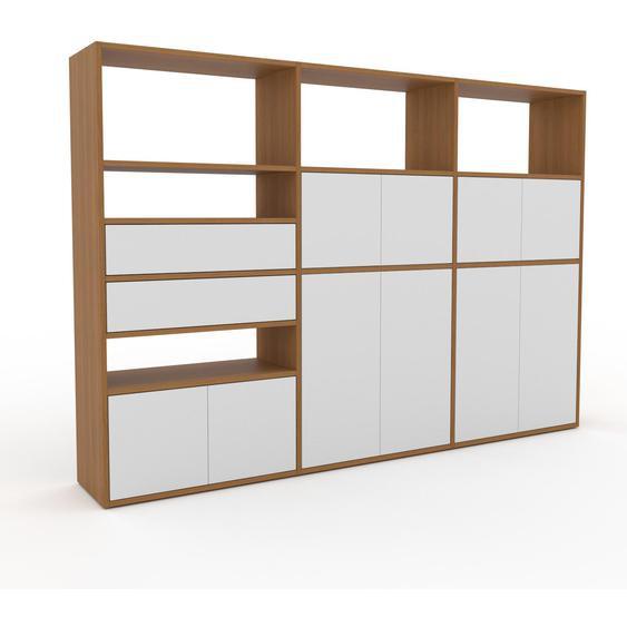 Aktenschrank Eiche - Büroschrank: Schubladen in Weiß & Türen in Weiß - Hochwertige Materialien - 226 x 157 x 35 cm, Modular