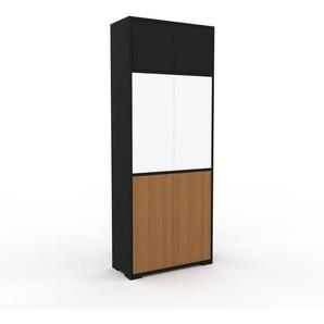 Aktenschrank Schwarz - Flexibler Büroschrank: Türen in Eiche - Hochwertige Materialien - 77 x 196 x 35 cm, Modular
