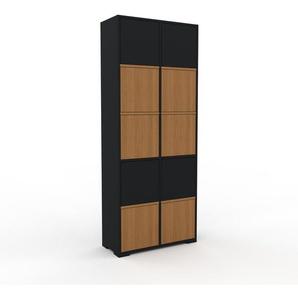 Aktenschrank Schwarz - Flexibler Büroschrank: Türen in Eiche - Hochwertige Materialien - 79 x 196 x 35 cm, Modular