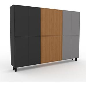 Aktenschrank Eiche - Flexibler Büroschrank: Türen in Anthrazit - Hochwertige Materialien - 226 x 168 x 35 cm, Modular
