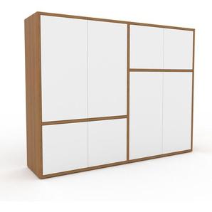 Aktenschrank Eiche - Flexibler Büroschrank: Türen in Weiß - Hochwertige Materialien - 152 x 118 x 35 cm, Modular