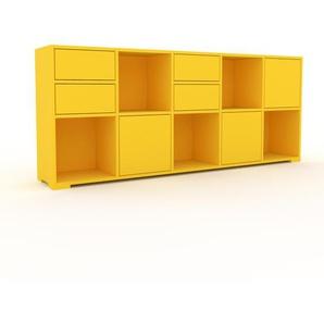 Aktenschrank Gelb - Büroschrank: Schubladen in Gelb & Türen in Gelb - Hochwertige Materialien - 195 x 81 x 35 cm, Modular