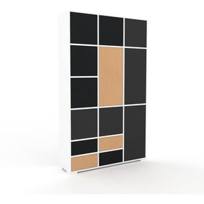 Aktenschrank Weiß - Büroschrank: Schubladen in Buche & Türen in Anthrazit - Hochwertige Materialien - 118 x 196 x 35 cm, Modular