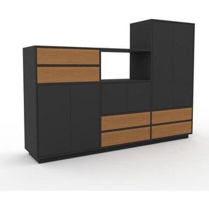 Aktenschrank Graphitgrau - Büroschrank: Schubladen in Eiche & Türen in Graphitgrau - Hochwertige Materialien - 226 x 162 x 47 cm, Modular