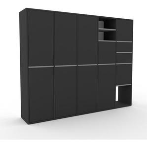 Aktenschrank Anthrazit - Büroschrank: Schubladen in Anthrazit & Türen in Anthrazit - Hochwertige Materialien - 195 x 157 x 35 cm, Modular