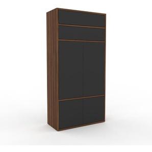 Aktenschrank Nussbaum - Büroschrank: Schubladen in Anthrazit & Türen in Anthrazit - Hochwertige Materialien - 77 x 157 x 35 cm, Modular