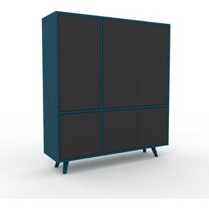 Aktenschrank Blau - Flexibler Büroschrank: Türen in Anthrazit - Hochwertige Materialien - 116 x 130 x 35 cm, Modular