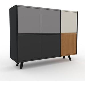 Aktenschrank Graphitgrau - Flexibler Büroschrank: Türen in Graphitgrau - Hochwertige Materialien - 116 x 91 x 35 cm, Modular