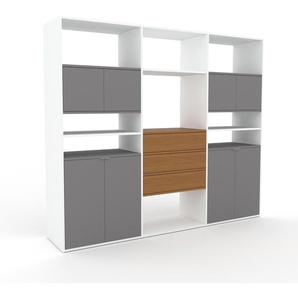 Aktenschrank Weiß - Büroschrank: Schubladen in Eiche & Türen in Grau - Hochwertige Materialien - 226 x 195 x 47 cm, Modular
