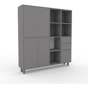 Aktenschrank Grau - Büroschrank: Schubladen in Grau & Türen in Grau - Hochwertige Materialien - 154 x 168 x 35 cm, Modular