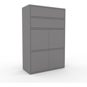 Aktenschrank Grau - Büroschrank: Schubladen in Grau & Türen in Grau - Hochwertige Materialien - 77 x 118 x 35 cm, Modular