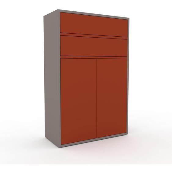 Aktenschrank Grau - Büroschrank: Schubladen in Rot & Türen in Rot - Hochwertige Materialien - 77 x 118 x 35 cm, Modular