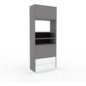 Aktenschrank Grau - Büroschrank: Schubladen in Weiß & Türen in Grau - Hochwertige Materialien - 77 x 200 x 35 cm, Modular