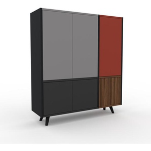 Aktenschrank Schwarz - Flexibler Büroschrank: Türen in Anthrazit - Hochwertige Materialien - 116 x 130 x 35 cm, Modular