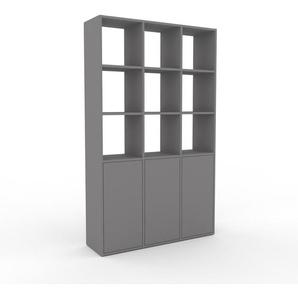 Aktenschrank Grau - Flexibler Büroschrank: Türen in Grau - Hochwertige Materialien - 118 x 195 x 35 cm, Modular