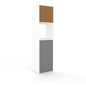 Aktenschrank Weiß - Flexibler Büroschrank: Türen in Grau - Hochwertige Materialien - 41 x 157 x 35 cm, Modular