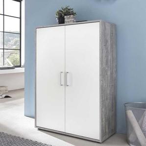 Aktenschrank in Weiß und Beton Grau Made in Germany
