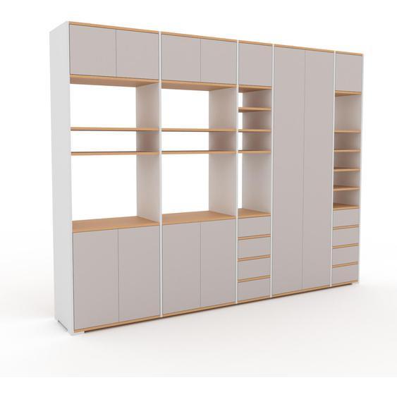 Aktenschrank Lichtgrau - Büroschrank: Schubladen in Lichtgrau & Türen in Lichtgrau - Hochwertige Materialien - 303 x 235 x 47 cm, Modular