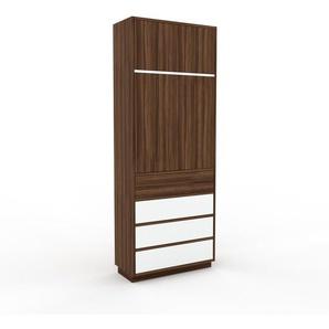 Aktenschrank Nussbaum - Büroschrank: Schubladen in Weiß & Türen in Nussbaum - Hochwertige Materialien - 77 x 200 x 35 cm, Modular