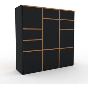 Aktenschrank Schwarz - Büroschrank: Schubladen in Schwarz & Türen in Schwarz - Hochwertige Materialien - 118 x 118 x 35 cm, Modular