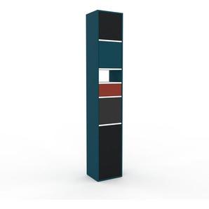 Aktenschrank Blau - Büroschrank: Schubladen in Rot & Türen in Schwarz - Hochwertige Materialien - 41 x 233 x 35 cm, Modular