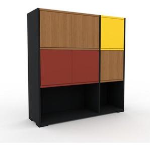 Aktenschrank Schwarz - Flexibler Büroschrank: Türen in Eiche - Hochwertige Materialien - 116 x 120 x 35 cm, Modular