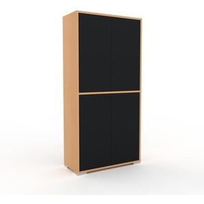 Aktenschrank Buche - Flexibler Büroschrank: Türen in Schwarz - Hochwertige Materialien - 77 x 158 x 35 cm, Modular