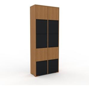 Aktenschrank Eiche - Flexibler Büroschrank: Türen in Schwarz - Hochwertige Materialien - 79 x 196 x 35 cm, Modular