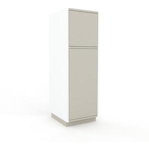 Aktenschrank Weiß - Flexibler Büroschrank: Türen in Sandgrau - Hochwertige Materialien - 41 x 124 x 47 cm, Modular
