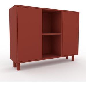 Aktenschrank Rot - Flexibler Büroschrank: Türen in Rot - Hochwertige Materialien - 118 x 91 x 35 cm, Modular