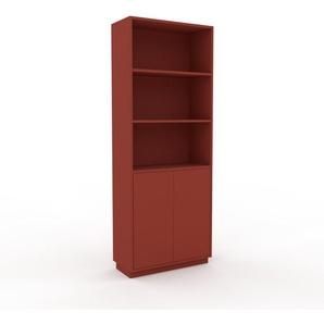 Aktenschrank Rot - Flexibler Büroschrank: Türen in Rot - Hochwertige Materialien - 77 x 200 x 35 cm, Modular