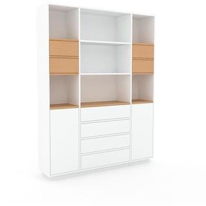 Aktenschrank Weiß - Büroschrank: Schubladen in Buche & Türen in Weiß - Hochwertige Materialien - 154 x 200 x 35 cm, Modular