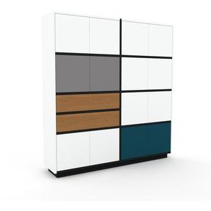 Aktenschrank Weiß - Büroschrank: Schubladen in Eiche & Türen in Weiß - Hochwertige Materialien - 152 x 162 x 35 cm, Modular