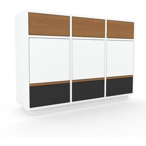 Aktenschrank Weiß - Büroschrank: Schubladen in Anthrazit & Türen in Weiß - Hochwertige Materialien - 118 x 85 x 35 cm, Modular