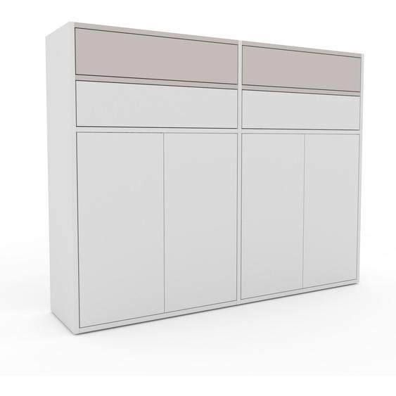 Aktenschrank Weiß - Büroschrank: Schubladen in Lichtgrau & Türen in Weiß - Hochwertige Materialien - 152 x 118 x 35 cm, Modular