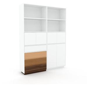 Aktenschrank Weiß - Büroschrank: Schubladen in Nussbaum & Türen in Weiß - Hochwertige Materialien - 152 x 200 x 35 cm, Modular