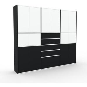 Aktenschrank Schwarz - Büroschrank: Schubladen in Schwarz & Türen in Weiß - Hochwertige Materialien - 226 x 195 x 35 cm, Modular