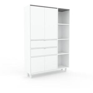 Aktenschrank Weiß - Büroschrank: Schubladen in Weiß & Türen in Weiß - Hochwertige Materialien - 116 x 168 x 35 cm, Modular