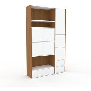 Aktenschrank Weiß - Büroschrank: Schubladen in Weiß & Türen in Weiß - Hochwertige Materialien - 116 x 195 x 35 cm, Modular