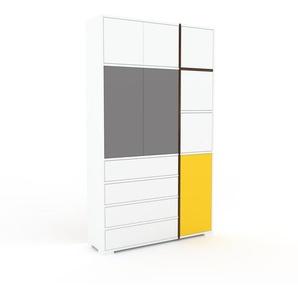 Aktenschrank Weiß - Büroschrank: Schubladen in Weiß & Türen in Weiß - Hochwertige Materialien - 116 x 196 x 35 cm, Modular