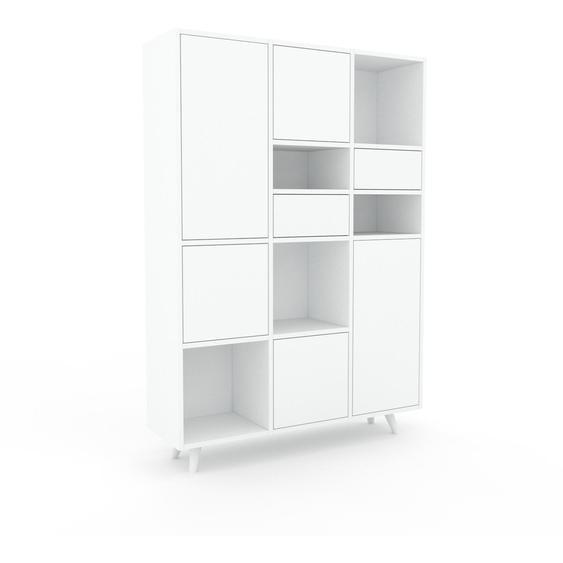 Aktenschrank Weiß - Büroschrank: Schubladen in Weiß & Türen in Weiß - Hochwertige Materialien - 118 x 168 x 35 cm, Modular