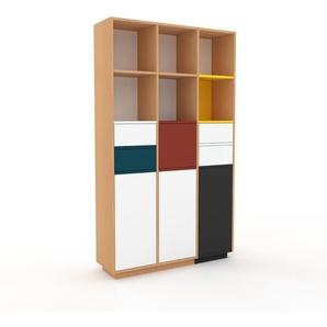 Aktenschrank Buche - Büroschrank: Schubladen in Weiß & Türen in Weiß - Hochwertige Materialien - 118 x 200 x 35 cm, Modular