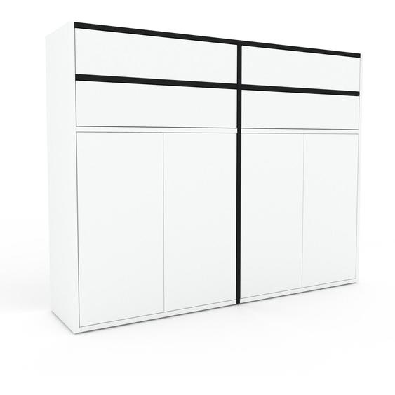 Aktenschrank Weiß - Büroschrank: Schubladen in Weiß & Türen in Weiß - Hochwertige Materialien - 152 x 118 x 35 cm, Modular
